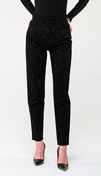 Черные джинсы Emporio Armani с декором-стразами, фото