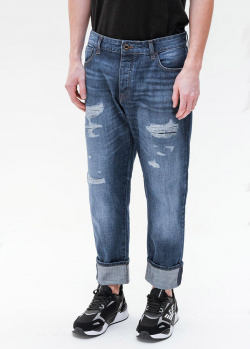 Рваные мужские джинсы Emporio Armani синего цвета, фото
