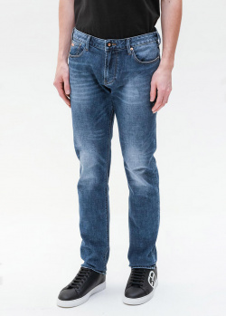 Синие джинсы Emporio Armani с потертостями, фото