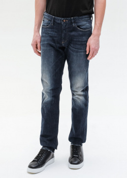 Синие джинсы Emporio Armani с пятнами краски, фото