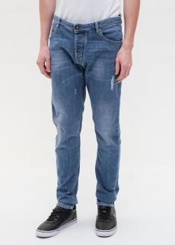 Синие джинсы Emporio Armani с эффектом капель краски, фото