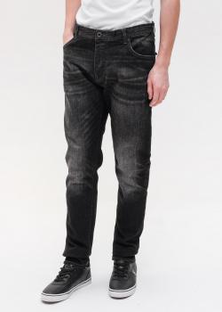 Джинсы с потертостями Emporio Armani черного цвета, фото