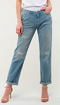Рваные джинсы Emporio Armani голубого цвета, фото