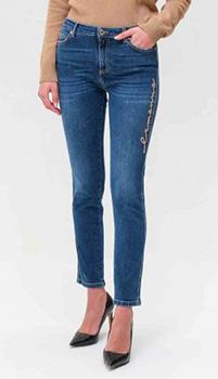 Синие джинсы Ermanno Scervino с брендовой нашивкой, фото