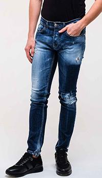 Синие джинсы Frankie Morello с эффектом делаве, фото
