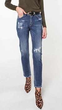 Укороченные джинсы Frankie Morello с потертостями, фото