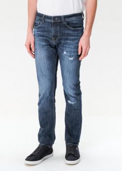 Синие джинсы Hugo Boss с эффектом потертости, фото