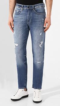 Синие джинсы Hugo Boss с потертостями, фото