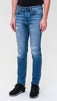 Голубые джинсы Hugo Boss с потертостями, фото