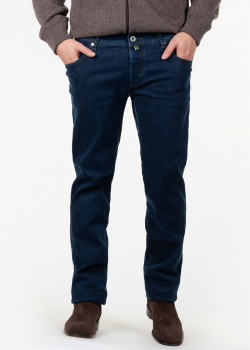 Темно-синие джинсы Jacob Cohen с контрастной строчкой, фото
