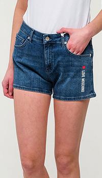 Джинсовые шорты Love Moschino с логотипом, фото