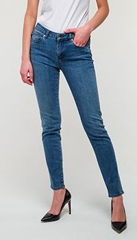 Зауженные джинсы Love Moschino синего цвета, фото