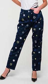 Прямые джинсы Love Moschino со звездами, фото