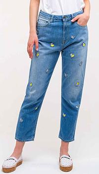 Голубые джинсы Love Moschino с вышивкой, фото