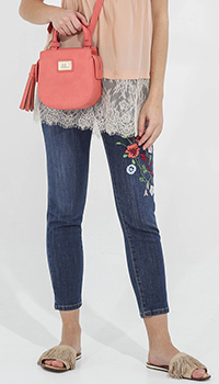 Укороченные скинни Blugirl Blumarine с цветочной вышивкой, фото