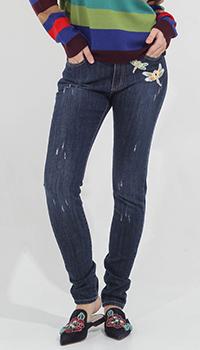 Узкие джинсы Blugirl Blumarine с вышивкой в виде стрекоз, фото