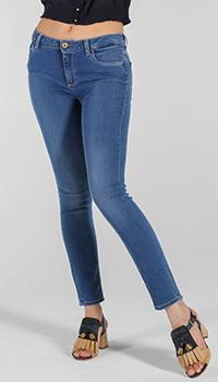 Синие скинни Trussardi Jeans с заниженной талией, фото