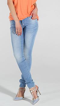 Голубые узкие джинсы Trussardi Jeans с потертостями, фото