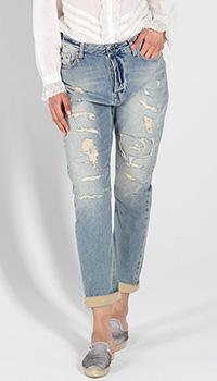 Рваные джинсы Twin-Set голубого цвета, фото