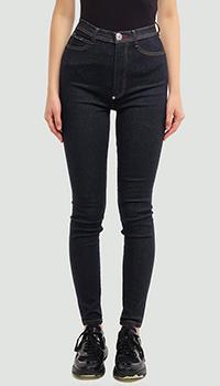 Темно-синие джинсы Philipp Plein с высокой талией, фото