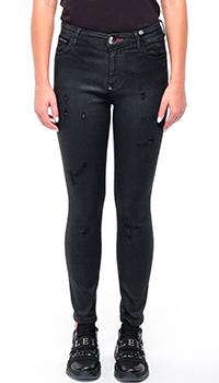 Укороченные женские джинсы Philipp Plein черного цвета, фото