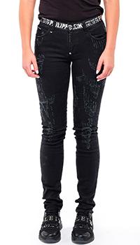 Зауженные джинсы Philipp Plein черного цвета, фото