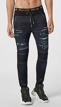 Синие джинсы Philipp Plein с манжетами, фото