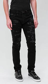 Рваные джинсы Philipp Plein черного цвета, фото
