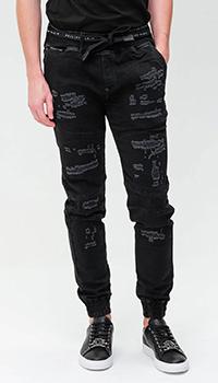Черные джинсы Philipp Plein с эластичным поясом, фото