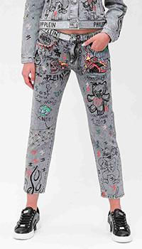 Серые джинсы Philipp Plein с принтом и стразами, фото