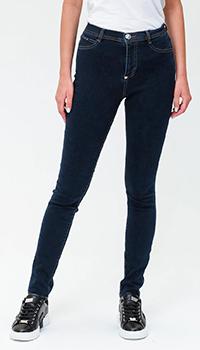 Синие джинсы Philipp Plein с высокой посадкой, фото
