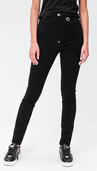 Черные джинсы Philipp Plein с декором в виде сердца, фото