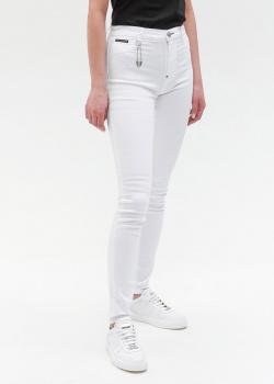 Белые скинни Philipp Plein с декоративной булавкой, фото