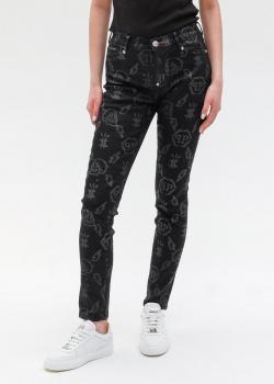 Черные джинсы Philipp Plein с брендовым принтом, фото