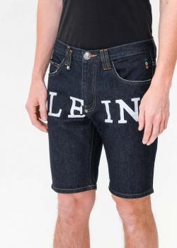 Джинсовые шорты Philipp Plein с брендовым принтом, фото