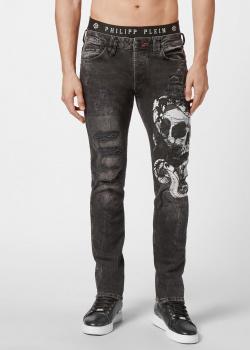 Черные джинсы Philipp Plein с изображением черепа и змеи, фото