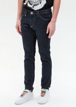Синие джинсы Philipp Plein с вышивкой-черепом, фото
