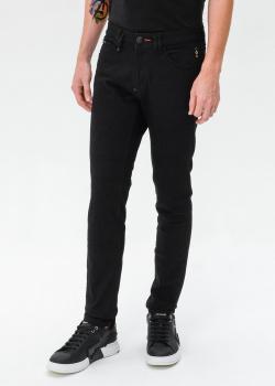 Черные джинсы Philipp Plein с вышивкой-черепом, фото