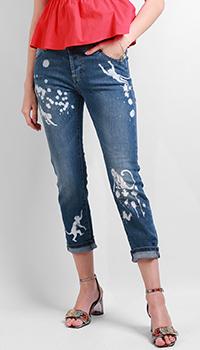 Укороченные джинсы Red Valentino с принтом в виде обезьян, фото
