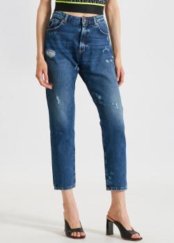 Синие джинсы John Richmond с брендовым принтом, фото