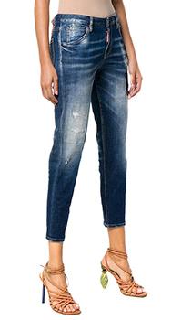 Синие джинсы Dsquared2 с эффектом делаве, фото