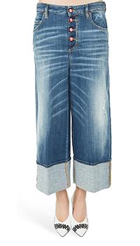 Широкие джинсы Dsquared2 темно-синего цвета, фото