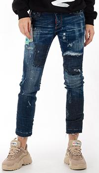 Укороченные джинсы Dsquared2 синего цвета, фото