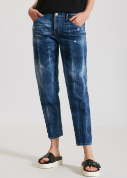 Синие джинсы Dsquared2 с эффектом потертости, фото