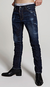 Темно-синие джинсы Dsquared2 с эффектом делаве, фото