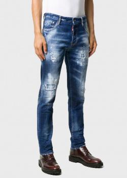 Зауженные джинсы Dsquared2 с эффектом потертости, фото