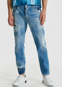 Прямые джинсы Dsquared2 Skater Jean с прорезями, фото