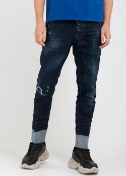 Синие джинсы Dsquared2 с пятнами краски, фото