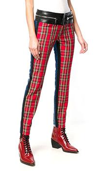 Клетчатые джинсы Dsquared2 с контрастным поясом, фото