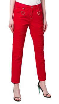Красные джинсы Dsquared2 с металлическими кольцами, фото